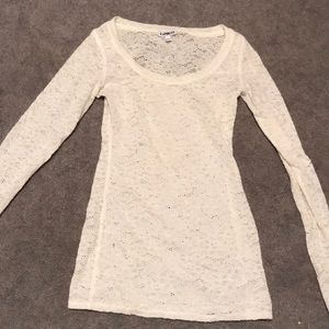LS lace scoop neck top